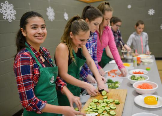 Students Prepping Food In Youth Culinary Arts