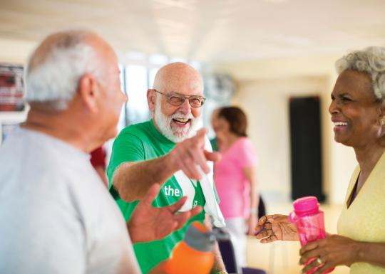 Active older adults laughing