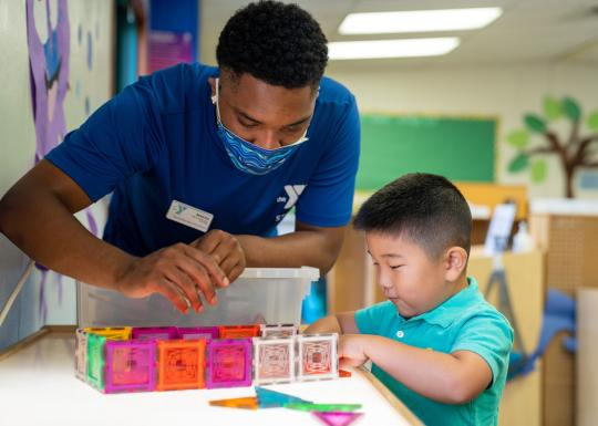 Before and After School Child Care With Building Blocks