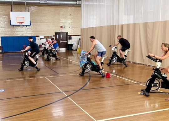Cycling Class In YMCA Gym