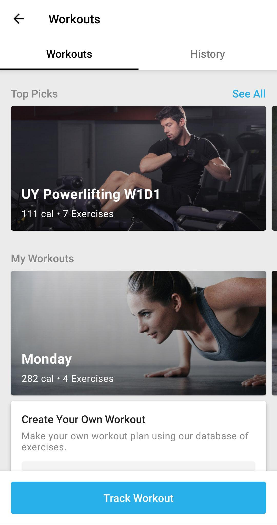 Create Your Workout Template Y Mobile App