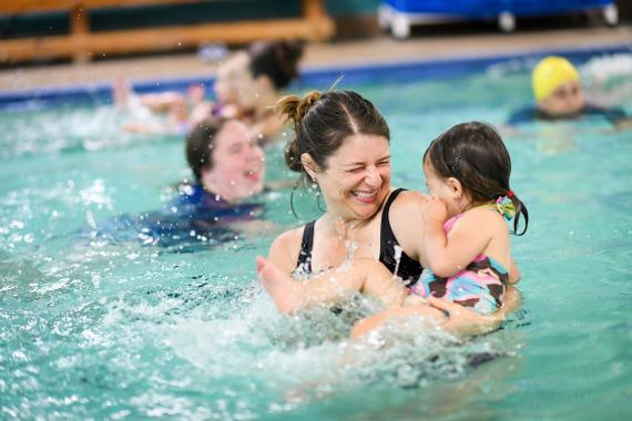 Mother And Child In Pool At Morgan Family YMCA